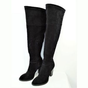 Beautiful Zara Black Suede Knee High Boots